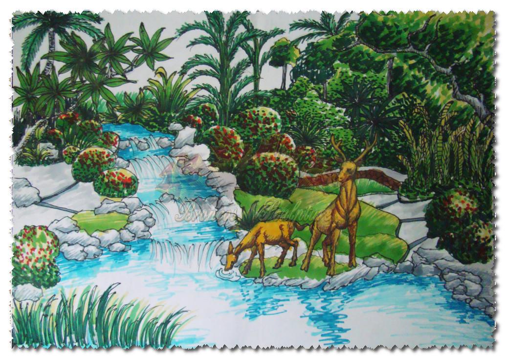 公园景观手绘效果图